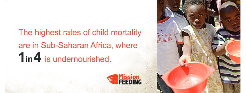 The highest rates of child mortality are in Sub-Saharan Africa, where 1 in 4 is undernourished. -Mission Feeding
